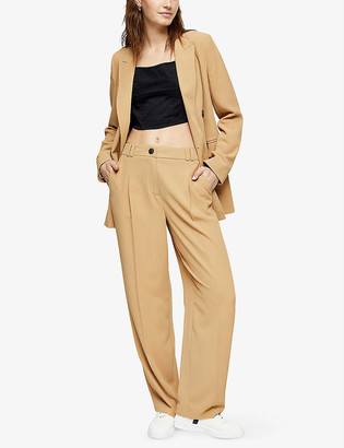 Topshop Straight-leg mid-rise crepe trousers