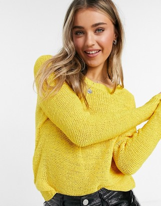 Only knitted long sleeve crew neck jumper in mustard yellow