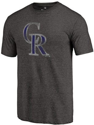 Fanatics Men's Heathered Black Colorado Rockies Distressed Team Tri-Blend T-Shirt