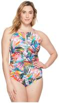 Lauren Ralph Lauren Plus Size Tropical Palm Hi-Neck One-Piece Women's Swimsuits One Piece