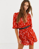 Lost Ink high neck shift dress in floral print with waist belt
