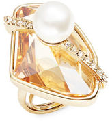 Oscar de la Renta Asymmetrical Faux Pearl and Crystal Ring
