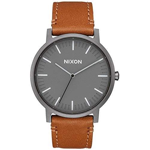 Nixon Porter Leather A1058 - Gunmetal/Charcoal/Taupe - 50m Water Resistant Men's Analog Classic Watch (40mm Watch Face