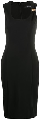 Versace Gathered Strap Fitted Dress