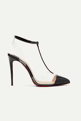 Christian Louboutin Nosy 100 Patent-leather And Pvc T-bar Pumps - Black