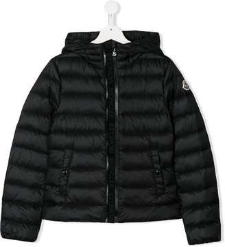 Moncler Enfant TEEN logo-tape hooded down jacket