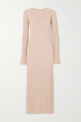 LOULOU STUDIO Uturoa Ribbed Silk And Cotton-blend Maxi Dress - Beige