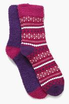 Boohoo Kara Fairisle Ankle Socks Two Pack