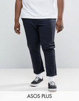 Asos Plus Tapered Chinos In Navy