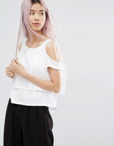 Monki Cold Shoulder Layered Top