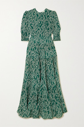 Rixo Kristen Tiered Floral-print Cotton And Silk-blend Midi Dress - Green