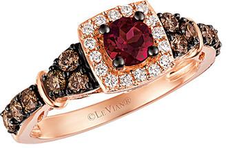 LeVian Le Vian 14K Rose Gold 1.05 Ct. Tw. White & Brown Diamond & Rhodolite Ring