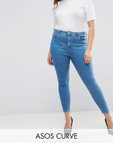 Asos High Waist Ridley Skinny Jean In Lily Mid Wash Blue