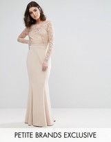 Club L Petite Allover Scallop Lace Top Maxi Dress With Open Bow Back