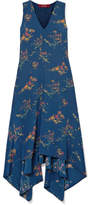 Sies Marjan - Exclusive Asymmetric Printed Crepe De Chine Midi Dress - Navy