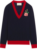 Gucci Embroidered Merino Wool Sweater - Navy