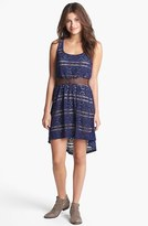 Trixxi Belted Back Cutout Lace High/Low Dress (Juniors) (Online Only)
