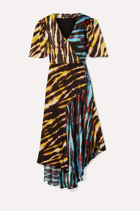 House of Holland Asymmetric Paneled Tie-dyed Satin Midi Dress - Black