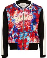 River Island Girls pink print bomber jacket