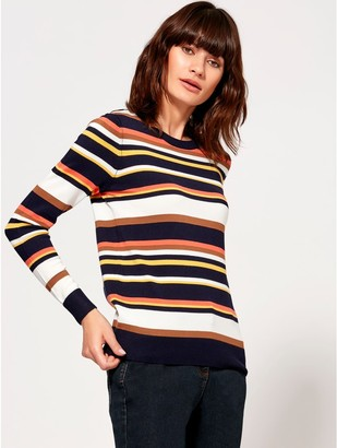 M&Co Stripe crew neck jumper