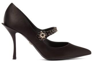 Dolce & Gabbana Crystal-embellished Mary-jane Satin Pumps - Black