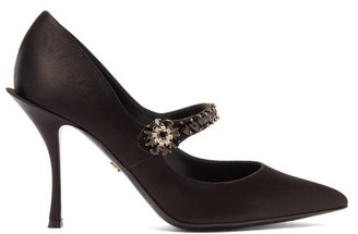 Dolce & Gabbana Crystal-embellished Mary-jane Satin Pumps - Womens - Black