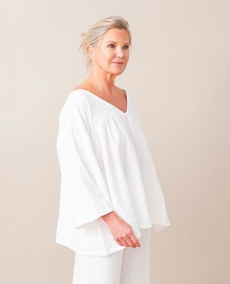 Beaumont Organic Carlotte Organic Cotton Top In Off White - Off White / Extra Small