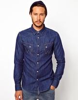 Wrangler Denim Shirt Slim Fit City Western - Indigo