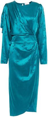 Ronny Kobo Wrap-effect Draped Silk-blend Satin-jacquard Midi Dress