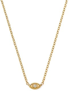 Zoë Chicco 14K Yellow Gold Itty Bitty Diamond Evil Eye Necklace, 16