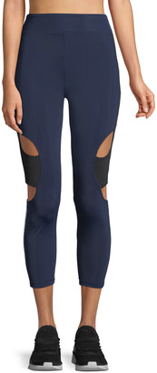 Cushnie Cropped High-Rise Cutout Side-Stripe Leggings
