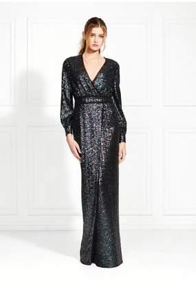 Rachel Zoe Stellabella Long-Sleeve Iridescent Sequin Gown