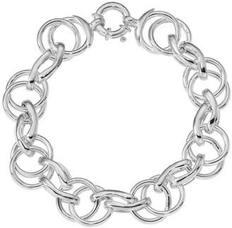 Italian Silver Interlocking Circles Bracelet, Sterling, 23.3g