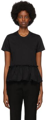 Noir Kei Ninomiya Black Cotton Gathered Hem T-Shirt