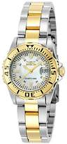 Invicta Women's Pro Diver Quartz Watch with Mother of Pearl Dial Analogue Display and Multicolour Gold Plated Bracelet 6895