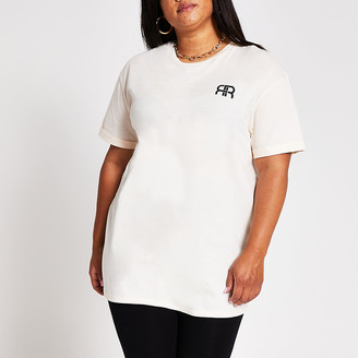 River Island Plus cream short sleeve RR longline t-shirt