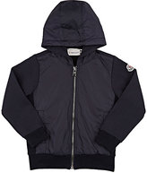 Moncler Fleece & Tech-Fabric Zip-Front Hoodie-NAVY