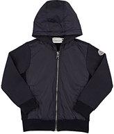 Moncler Fleece & Tech-Fabric Zip-Front Hoodie-NAVY
