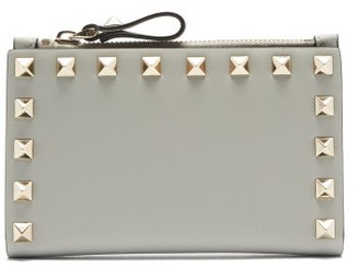 Valentino Rockstud Leather Card And Coin Purse - Grey
