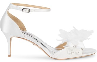 Badgley Mischka Flowery Satin Sandals