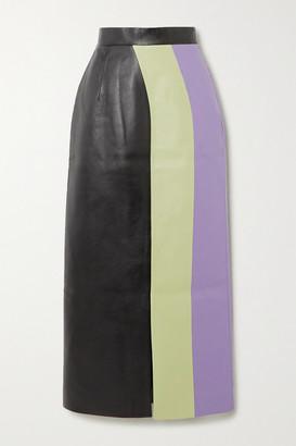 MATÉRIEL Color-block Faux Leather Midi Skirt - Light green