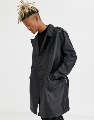 ASOS DESIGN leather double breasted trench coat in black