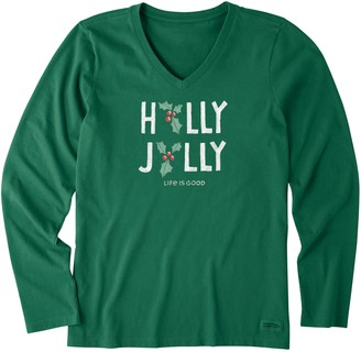 Life is Good Women's Holly Jolly Long-Sleeve Crusher Tee