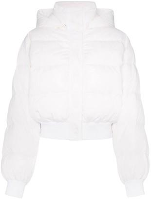 MSGM Logo Print Hooded Puffer Jacket