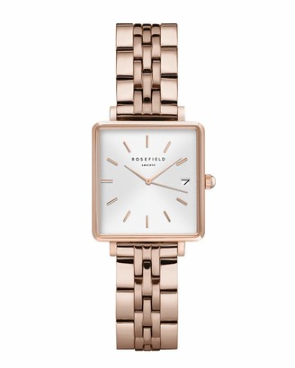 ROSEFIELD Women's Watch The Boxy XS White Dial Sunray Steel Rose Gold Strap Rose Gold Square Case QMWSR-Q022