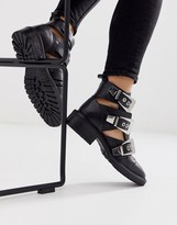 Asos DESIGN Antidote leather cut out chunky ankle boots in black