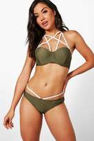 Boohoo Sorrento Underwired Criss Cross Bikini khaki