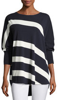Lafayette 148 New York Dolman-Sleeve Bicolor Striped Matte Crepe Sweater, Ink/Cloud, Plus Size