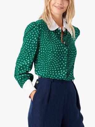 Brora Star Print Silk Shirt, Emerald
