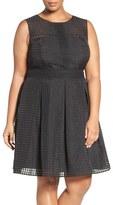 London Times Plus Size Women's Windowpane Organdy Fit & Flare Dress